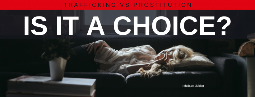 "Blog header image of a woman lying in front of a window with text on which says ""Trafficking vs Prostitution: Is it a choice"""