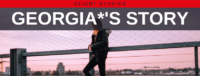 """Blog header image of a woman standing in front of a sunset with text on which says """"Georgia's Story"""""""