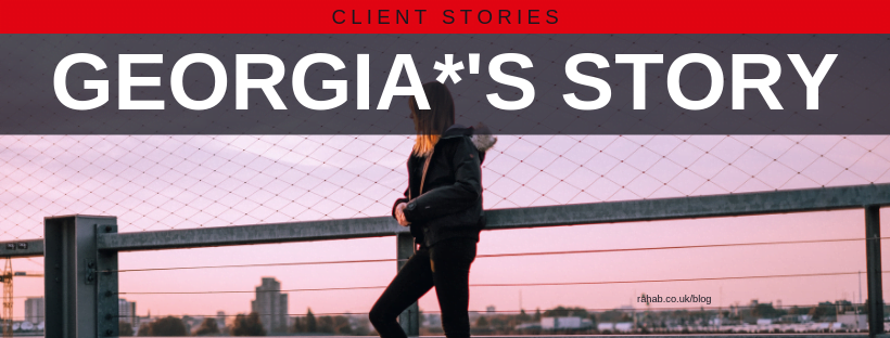 "Blog header image of a woman standing in front of a sunset with text on which says ""Georgia's Story"""