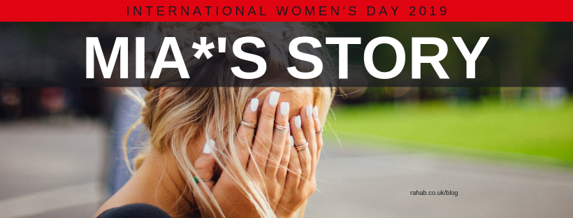 "Blog header image of a woman covering her face with text on which says ""International Women's Day - Mia's Story"""