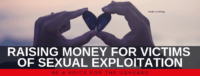 "Blog header image of a hands holding stones together to create a heart with text on which says ""How to help raise money for victims of sexual exploitation"""