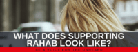 "Blog header image of a woman's head from behind with text on which says ""What Does Supporting Rahab Look Like?"""