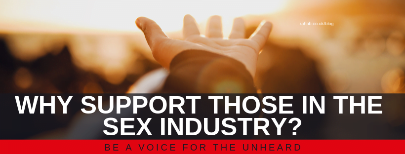 "Blog header image of a hand held out in prayer with text on which says ""Why Support those in the Sex Industry?"""