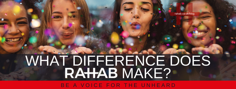 "Blog header image of a women blowing confettiwith text on which says ""What Difference does Rahab make?"""
