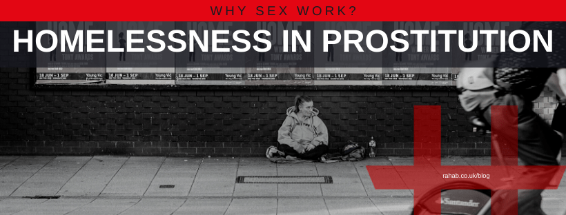 "Blog header image of a homeless person sitting in the street with text on which says ""Why Sex Work?: Homelessness In Prostitution"""