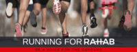 """Blog header image of people running with text on which says """"Running For Rahab"""""""